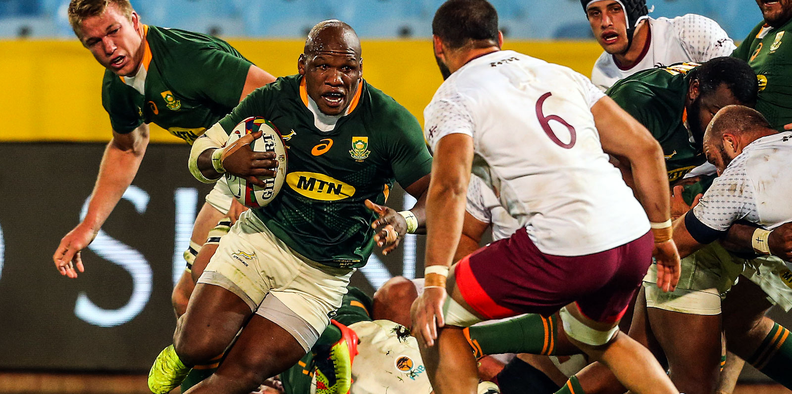 Bongi Mbonambi had a typically busy evening for the Boks and scored one of their six tries.